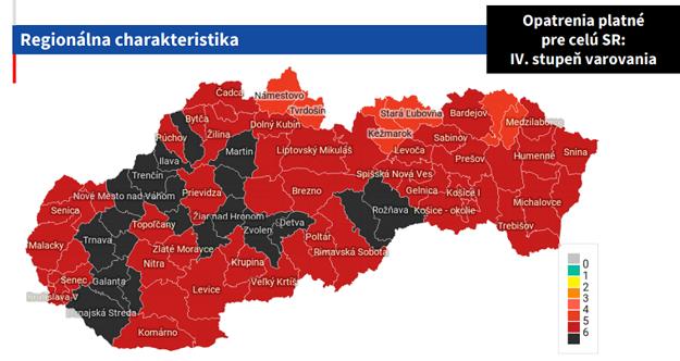 Rozdelenie okresov v stupňoch varovania od 1. marca 2021