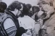 Štefan Kováč(vpravo) počas udalostí Novembra 1989