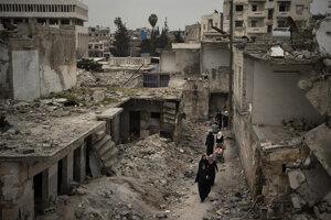 Zničené sýrske mesto Idlib, posledná bašta protivládnych povstalcov.