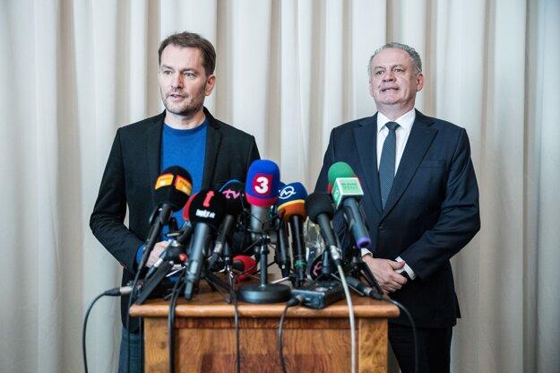 3. marec 2020. Igor Matovič a Andrej Kiska počas stretnutia po voľbách do Národnej rady SR 2020.