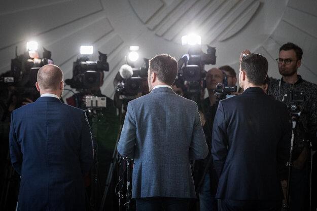 5. marec 2020. Predseda hnutia OĽaNO Igor Matovič na TB po stretnutí s predsedom Za ľudí Andrejom Kiskom v rámci rokovaní o vytvorení vládnej koalície.