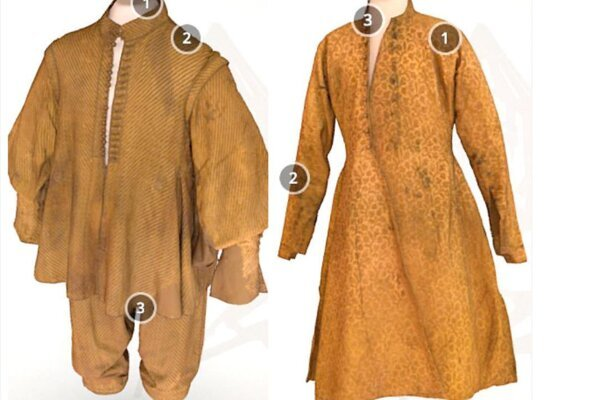 Vľavo nohavice akabátec, vpravo dolomán.
