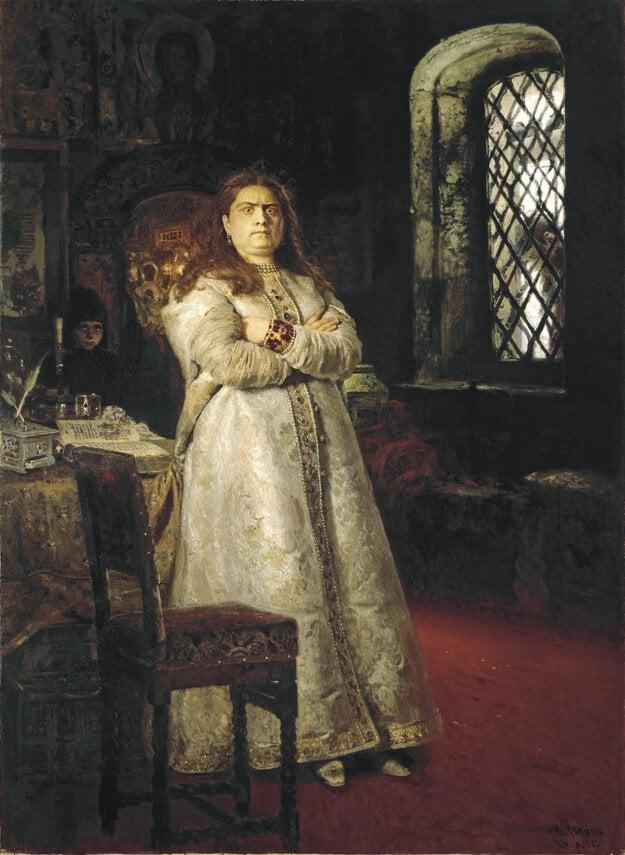 Regentka a ctižiadostivá žena Sofia Alexejevna na obraze ruského maliara Iľju Repina zo zbierok Tretiakovskej galérie v Moskve. Peter I. si nakoniec so svojou ambicióznou nevlastnou sestrou poradil a poslal ju do kláštora.