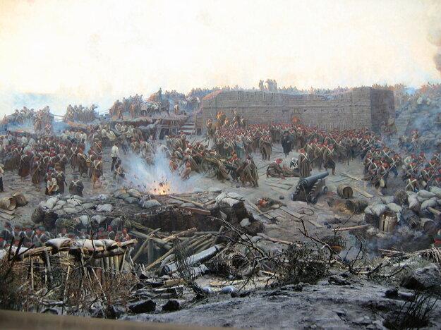 Obliehanie Sevastopoľu - obraz od ruského maliara Franza Boubauda.