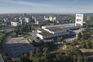 Pohľad na výstavisko Incheba a bratislavské sídlisko Petržalka.