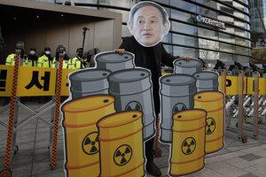 Demonštrant s podobizňou japonského premiéra Jošihida Sugu v Soule.