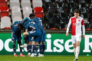 Momentka zo zápasu Slavia Praha - Arsenal.