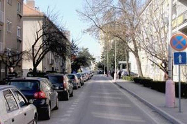Na Hodžovej ulici (vpravo je budova UKF) bude stáť hodina parkovania 30 centov. Ulica bude spoplatnená počas pracovných dní od 7. do 16. hodiny.