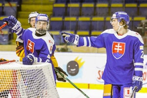 Juraj Slafkovský a Andrej Kollár, slovenská hokejová reprezentácia.