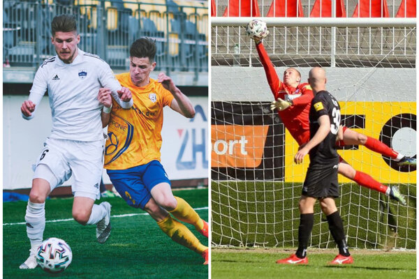 Alen Mustafič (vľavo) a Adrián Chovan (v zákroku) boli cez víkend výraznými postavami FC Nitra, respektíve FC ViOn.
