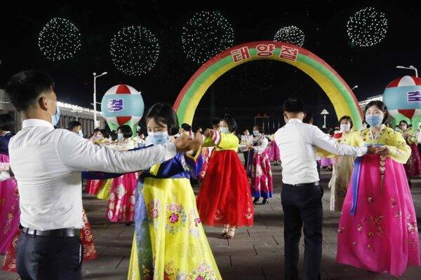Oslavy Dňa slnka v Pchjongjangu 15. apríla
