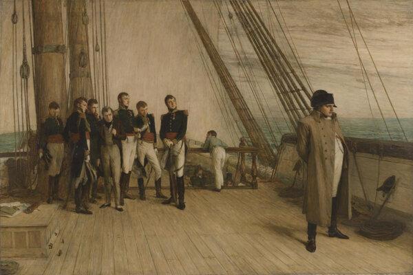 Napoleon na palube britskej lode HMS Bellerofon. Zdroj: wikimedia.org