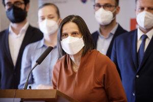 Ministerka spravodlivosti Mária Kolíková počas tlačovej konferencie.