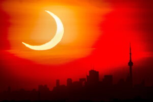 Zatmenie Slnka nad Torontom.