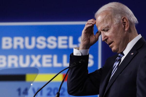 Prezident USA Joe Biden v priebehu summitu NATO v Bruseli.