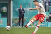 Robert Lewandowski na EURO 2020 v zápase Slovensko - Poľsko.