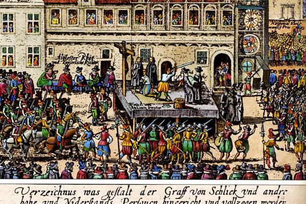 Poprava predstaviteľov stavovského odboja na Staromestskom námestí v Prahe 21. júna 1621.