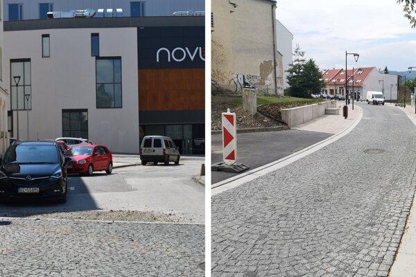 Koniec Jarkovej ulice pri Novume opravia. Na druhej strane ulice ostala časť bez chodníka.