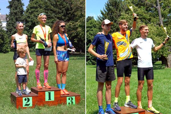 Najrýchlejší bežci a bežkyne na 10 km trati v sobotu v Topoľčiankach. Vľavo v strede Iveta Furáková, vpravo Marek Lenčéš.