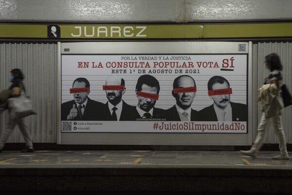 Plagát pozývajúci na referendum s tvárami piatich exprezidentov.