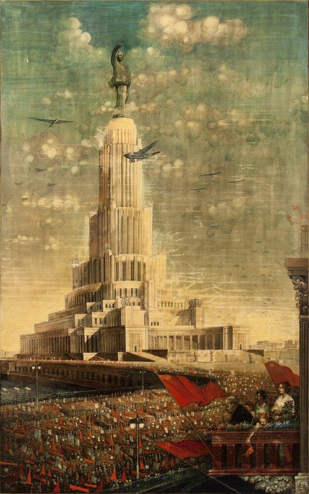 Utopistická vízia Paláca sovietov v Moskve na plátne sovietskeho umelca Alexandra F. Koťjagina pôsobí takmer ako Babylonská veža.