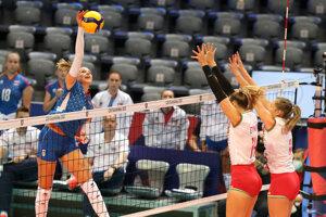 Karin Palgutová bola najviac bodujúcou hráčkou Slovenska v zápase Slovensko - Maďarsko na ME vo volejbale žien 2021.