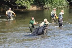 Rybári pri prieskume života v Hrone po ekologickej havárii.
