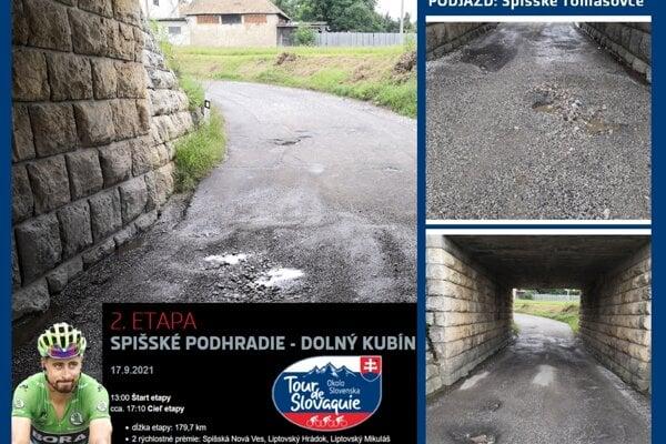 Obyvateľ upozornil na stav podjazdu, ktorým má prejsť cyklistický pelotón spolu so Saganom počas druhej etapy prestížnych pretekov Okolo Slovenska.