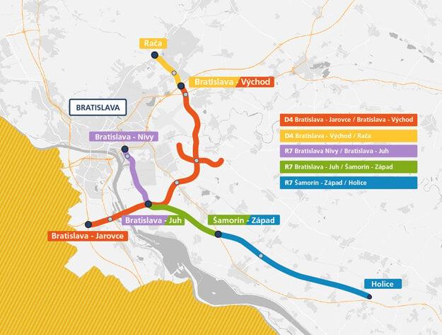Mapa diaľnice D4 a rýchlostnej cesty R7