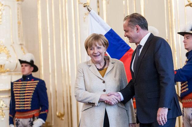 Merkelová a Andrej Kiska