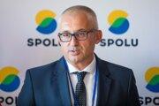 Miroslav Kollár na tlačovej konferencii po zvolení za predsedu strany Spolu.