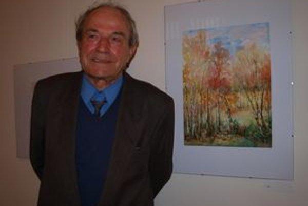 Jubilant Jozef Baus st. s akvarelom Brezového hájika.