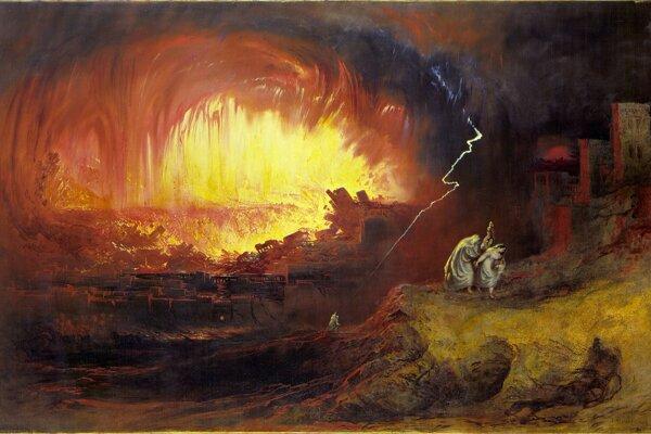 Vyobrazenie biblického príbehu o zničení Sodomy a Gomory. Základom tohto príbehu mohla byť skutočná prírodná katastrofa v údolí Jordánu.