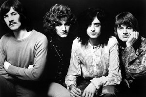 Led Zeppelin: zľava John Bonham, RObert Plant, Jimmy Page a John Paul Jones.