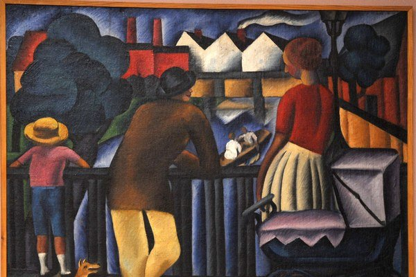 Jedným z vyše dvesto diel výstavy je Mestský motív Gejzu Schillera (výrez).