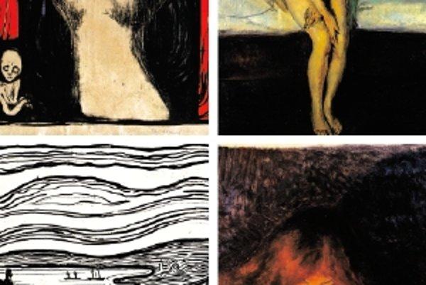 Z výstavy Edvarda Muncha. V hornom rade zľava diela Madona a Puberta, v dolnom rade Výkrik a Upír. Veľa Munchových obrazov má viacero verzií. Vyplýva to zo študijných účelov, ale aj z jeho zvyku urobiť si kópiu plátna, ktoré predal.