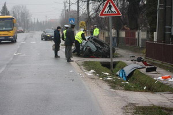 Záber z miesta nehody.