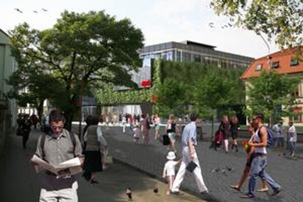 Pohľad na Aupark, ktorý ponúka investor, podľa jeho názoru stavba ráz mesta nenaruší.