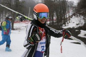 Pred štartom obrovského slalomu huslistka Vanessa Mae.