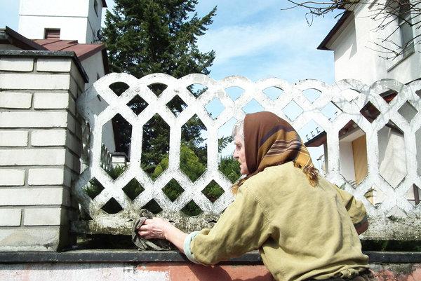 Krušetničanka využíva voľný čas na čistenie plota.