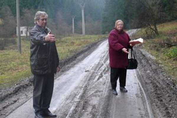 Anna Stuchlíková s manželom (na snímke) hovoria, že ťažké mechanizmy prevážajúce drevo zničili predtým dobrú cestu.