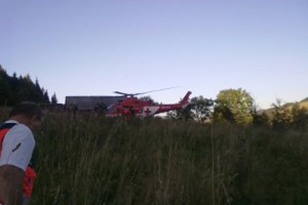 Pacienta priviezla do nemocnice záchranársky vrtuľník.