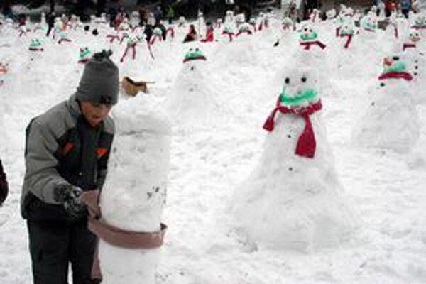 Na lúke vznikla armáda snehuliakov.