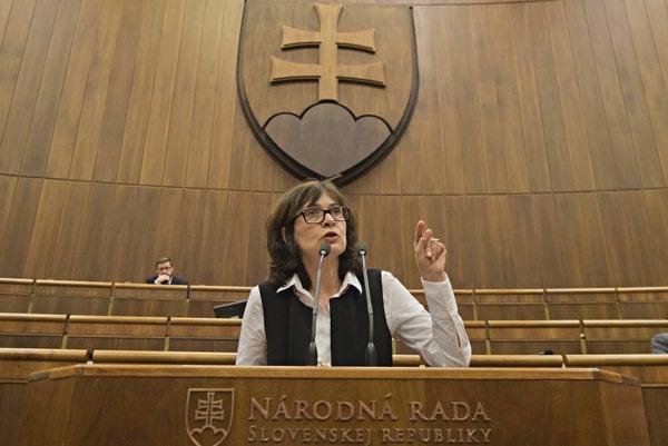 Na snímke ministerka spravodlivosti SR Lucia Žitňanská (Most-Híd).