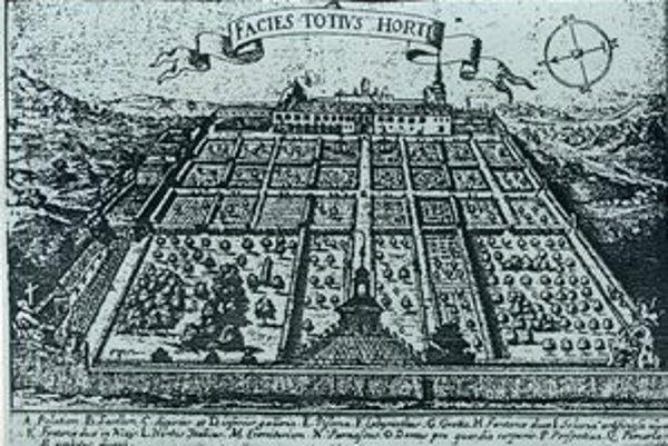 Historický pohľad na dnešnú záhradu pri Úrade vlády.