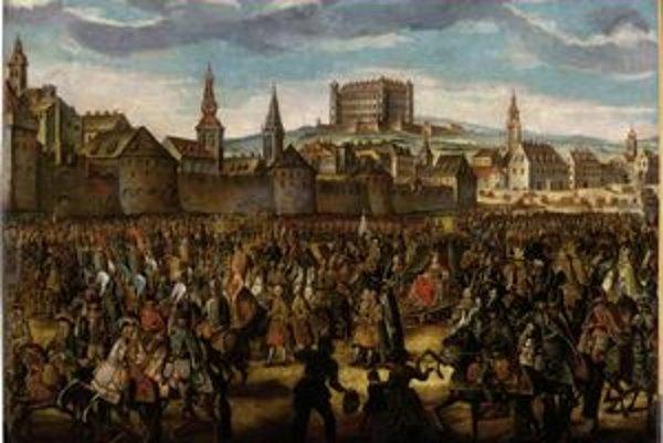 Dielo Johanna Daniela Hertza st. Korunovačný sprievod Márie Terézie v Bratislave je majetkom Galérie mesta Bratsislavy.
