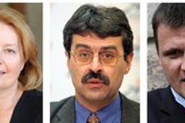 Kandidáti na primátora (zľava): Magdu Vášáryovú podporí pravica, Milan Ftáčnik kandiduje ako nezávislý s podporou Smeru. Nezávislý je aj aktivista a podnikateľ Alojz Hlina.