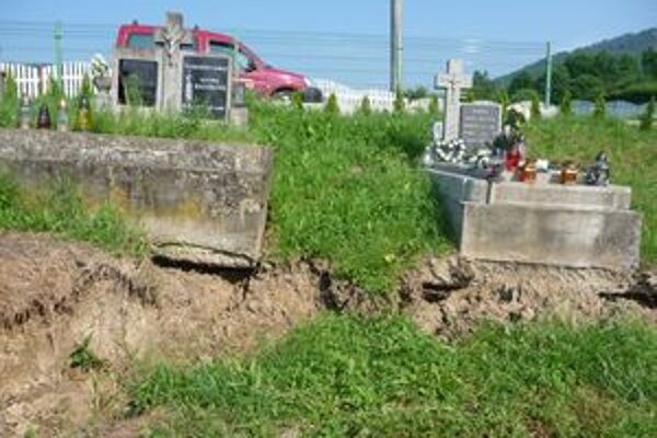 Cintorín stále ohrozujú pokračujúce zosuvy. Daždivé dni situáciu ešte zhoršili.