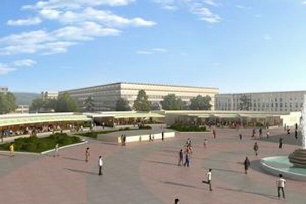 Takto by malo centrum s obchodíkmi a kaviarňami vyzerať. Stavebné práce na ňom odložil investor už druhýkrát.