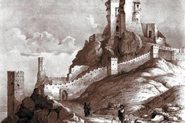 Devín, rytina zo začiatku 19. storočia.